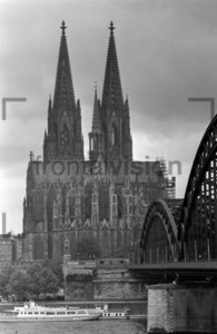 Cologne Cathedral with Hohenzollern Bridge 1965: Historical Image