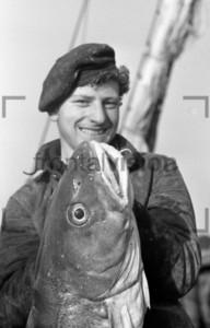 Fischer hält Fisch in Kamera | Fisherman presenting fish