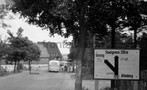 Tourists at national border crossing East Germany  Czechoslovakia near Altenberg Geising: Historical Image