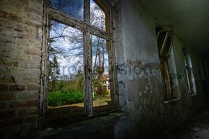 Schornstein mit Hochbehälter, Heilstätte Grabowsee - Lung sanatorium Grabowsee