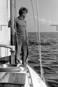 Segler Matrose auf Rennjolle 1956