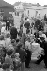 Fischer mit Fang im Hafen von Vitte 1956