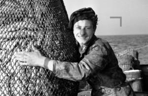 Fischer mit Netz und Fischen | Fisherman with net and fish