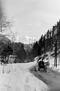 Pferdekutsche bayerische Alpen 1956