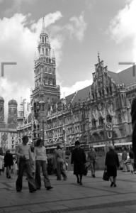 New Town Hall Munich and Marienplatz 1974