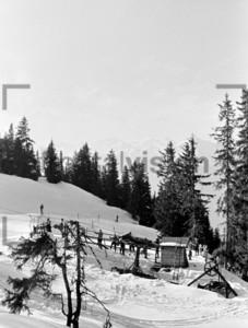 Skilift in den Alpen 1956