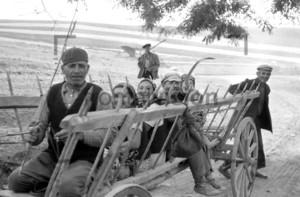 Landbevölkerung auf einem Pferdewagen | Rural people sitting on a carriage Historic image from 1965
