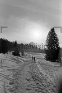 Winterspaziergang mit Skier durch Schnee