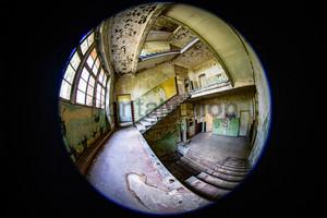 Treppenhaus Fisheye Heilstätte Grabowsee - Lung sanatorium Grabowsee