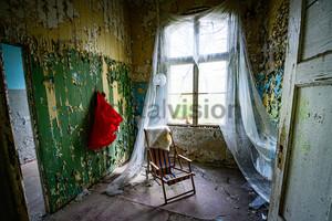 Stuhl mit Gardine Heilstätte Grabowsee - Lung sanatorium Grabowsee