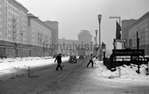 Stalinallee U-Bahn Strausberger Platz in winter Historical Image 1950er