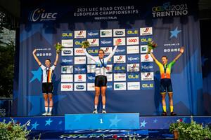 LIPPERT Liane, VAN DIJK Ellen, LELEIVYTE Rasa: UEC Road Cycling European Championships - Trento 2021
