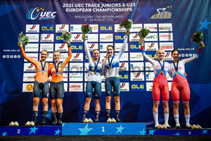 VAN DER DUIN Maike, RAAIJMAKERS Marit, CONSONNI Chiara, FIDANZA Martina, MALKOVA Daria, ROSTOVTSEVA Maria: UEC Track Cycling European Championships (U23-U19) – Apeldoorn 2021