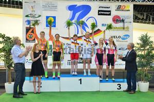 Grabosch, Pauline Sophie - Winkelblech, Monique - Bewersdorff, Siri - Hinze, Emma - Brauße, Franziska – Wolfer, Sarah: DM Bahn 2015 - Tag 4